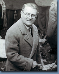 Dr. Albert Menasche, survivor and post-war President of the Jewish community of Salonica, placing the cornerstone of a home for future Jewish artisans. Salonica, March 9, 1947. © 1998 Foundation for the Advancement of Sephardic Studies and Culture.